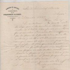 Cartas comerciales: ALMACEN DE CURTIDOS Y GUARNICIONERÍA. PRUDENCIO ALONSO. OVIEDO. FIRMA PROPIETARIO. Lote 99750219