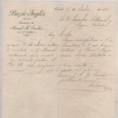 Cartas comerciales: BAZAR INGLES, SUCESOR DE MANUEL Mª SANCHEZ. OVIEDO. FIRMA PROPIETARIO 1892. ASTURIAS.. Lote 99750647