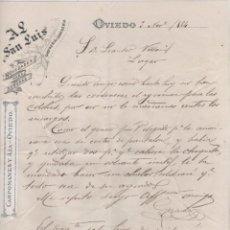 Cartas comerciales: AL SAN LUIS OVIEDO. 1884 CAMISERIA Y SASTRERIA. FIRMA DEL PROPIETARIO GERARDO. TAMAÑO FOLIO.. Lote 99790251
