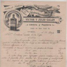 Cartas comerciales: VICTOR Y JULIO GALAN. LIBRERIA Y PAPELERÍA. TINTAS STHEPHENS, OVIEDO. 1902 FIRMA PROPIETARIO.. Lote 99792439