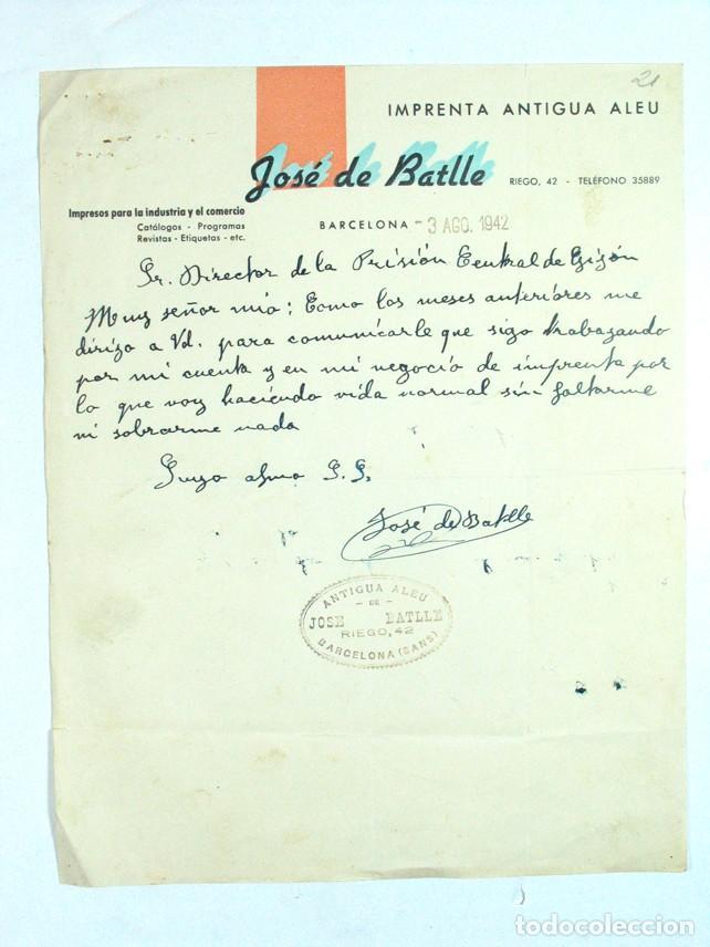 ANTIGUA CARTA COMERCIAL DE UN REPRESALIADO DE LA GUERRA CIVIL. IMPRENTA J. DE BATLLE. BARCELONA 1942 (Coleccionismo - Documentos - Cartas Comerciales)