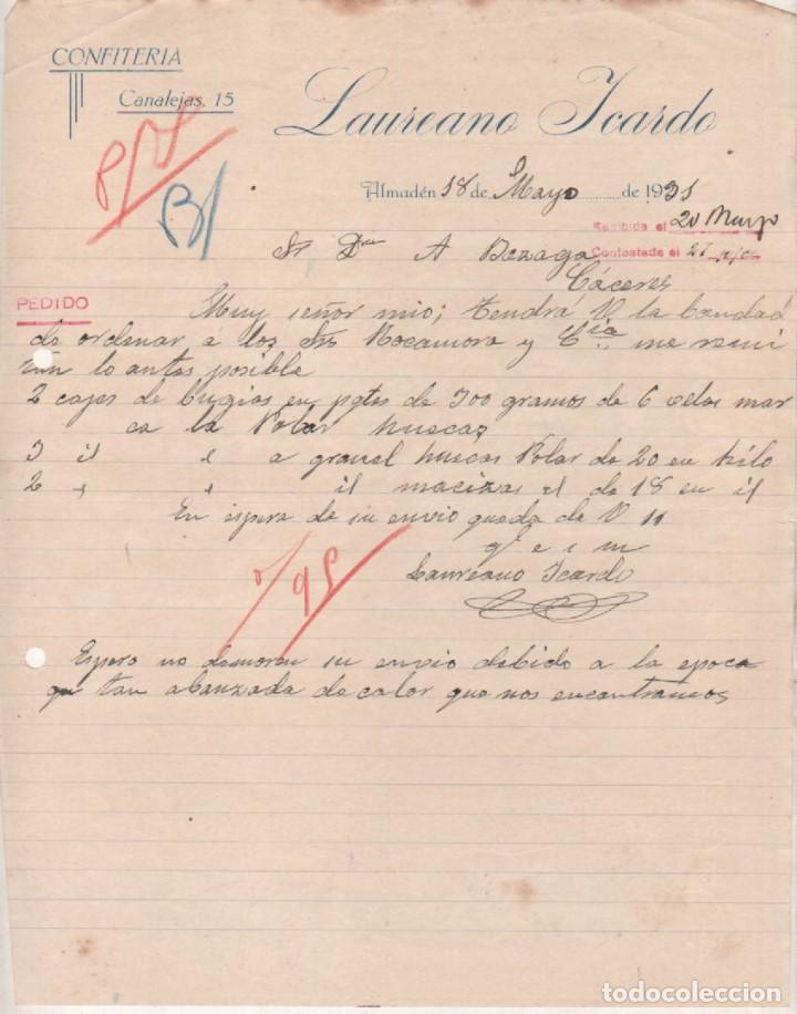 Laureano Icardo. Confitería. Almanden. Ciudad Real 1931. Firma del propeitario. segunda mano