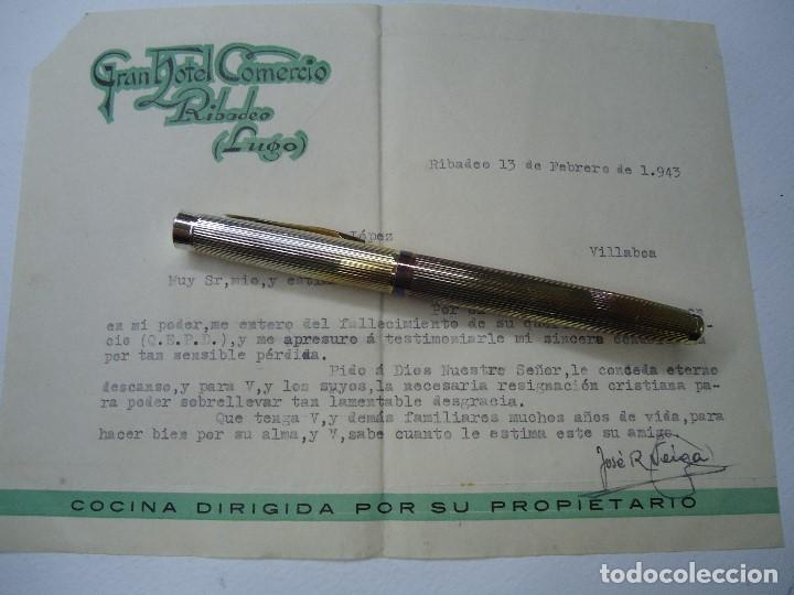 Cartas comerciales: 1943 carta con membrete GRAN HOTEL COMERCIO RIBADEO LUGO - Foto 2 - 101095423