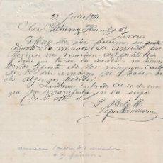 Cartas comerciales: CARTA COMERCIAL. LÓPEZ HERMANOS. STA. CRUZ DE TENERIFE. ESPAÑA 1884. Lote 101193475