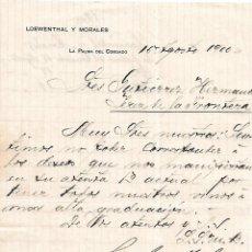 Cartas comerciales: CARTA COMERCIAL. LOEWENTHAL Y MORALES. LA PALMA DEL CONDADO. ESPAÑA 1900. Lote 101195531