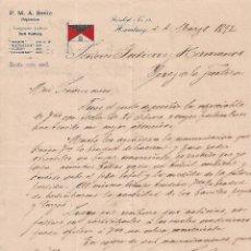 Cartas comerciales: CARTA COMERCIAL. F.M.A, SEELE. SHIPBROKER. HAMBURG 1892. Lote 101195907