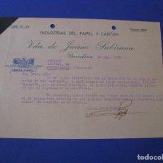 Cartas comerciales: CARTA ENVIADA DE INDUSTRIAS DEL PAPEL Y CARTÓN (BARCELONA) A CAMUSAN (PUENTE GENIL). 1940.. Lote 101204543