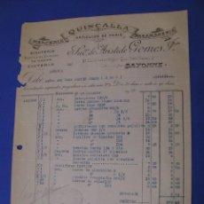 Cartas comerciales: CARTA, FACTURA DE QUINCALLA ARTICULOS DE PARIS. BAYONA 1928.. Lote 101204875