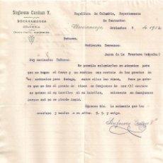 Cartas comerciales: CARTA COMERCIAL. SINFOROSO CARDOSO V. BUCARAMANGA. COLOMBIA 1912. Lote 101205103