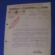Cartas comerciales: CARTA, LISTA DE PRECIOS DE BENEDICTINS DE SOULAC JABON, DENTRIFICO. 1923.. Lote 101205299