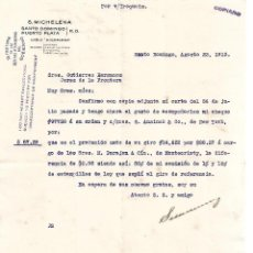 Cartas comerciales: CARTA COMERCIAL. S.MICHELENA. SANTO DOMINGO. PUERTO PLATA 1913. Lote 101205763
