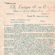 Cartas comerciales: CARTA COMERCIAL. A. LARTIGUE S. EN C. ORIXABA 1920. Lote 101206731