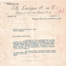 Cartas comerciales: CARTA COMERCIAL. A. LARTIGU E S. EN C. ORIXABA 1919. Lote 101206899