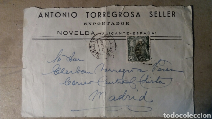 NOVELDA. ANTONIO TORREGROSA SELLER (Coleccionismo - Documentos - Cartas Comerciales)