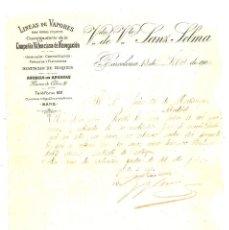 Cartas comerciales: LÍNEA DE VAPORES. COMPAÑIA VALENCIANA DE NAVEGACION. 1906. Lote 101687319