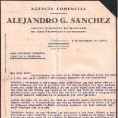 Cartas comerciales: CARTA COMERCIAL. ALEJANDRO G. SANCHEZ. AGENTE COMERCIAL. SALAMANCA. ESPAÑA 1927. Lote 102072663