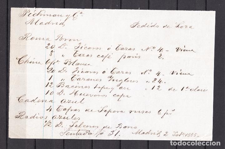 pedido manuscrito del deposito pickman de madrid 291885 a
