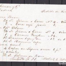 Cartas comerciales: ,,,PEDIDO MANUSCRITO DEL DEPOSITO PICKMAN DE MADRID 2/9/1885 A PICKMAN FÁBRICA LOZA LA CARTUJA SEVIL. Lote 102217015
