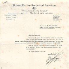 Cartas comerciales: CARTA COMERCIAL. UNIÓN RADIO - SOCIEDAD ANÓNIMA. MADRID. ESPAÑA 1936. Lote 102352675