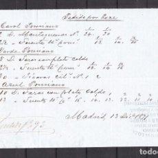Cartas comerciales: ,,,PEDIDO DE LOZA LA CARTUJA MANUSCRITO MADRID 13/12/1871 PARA EL DEPOSITO PICKMAN EN MADRID. Lote 102929899
