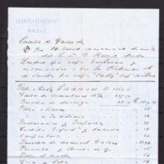 Cartas comerciales: ,,,CUENTA DE GASTOS (FLETE ADUANA ETC) PRESENTADA POR LACAVE Y ECHECOPAR DE CADIZ 1/9/1866 A PICKMAN. Lote 120178122