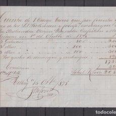 Cartas comerciales: ,,,CUENTA DE GASTOS DE EMBARQUE VIRGEN SAGRADA POR CUENTA DE PICKMAN VILLAGARCIA DE AROSA 16/10/1875. Lote 102937951