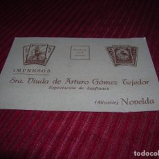 Cartas comerciales: IMPRESO SRA.VIUDA DE ARTURO GÓMEZ TEJEDOR.EXPORTACIÓN DE AZAFRANES.ALICANTE NOVELDA.. Lote 103923387
