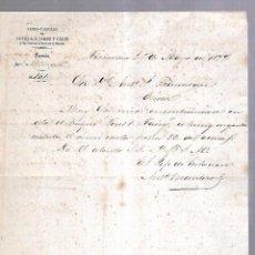 Cartas comerciales: TROCADERO. PUERTO REAL. ESTACION. CARTA DEL JEFE DE ESTACION. 1879. Lote 104781491