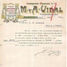 Lettres commerciales: CARTA COMERCIAL. M Y A - VIDAL. LITOGRAFÍA-RELIEVES. BARCELONA 1923. Lote 104781875