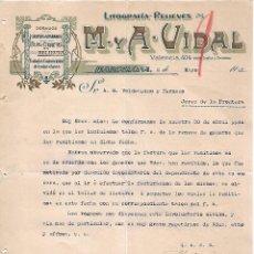 Lettres commerciales: CARTA COMERCIAL. M Y A - VIDAL. LITOGRAFÍA-RELIEVES. BARCELONA 1923. Lote 104781983