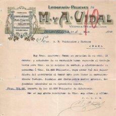 Lettres commerciales: CARTA COMERCIAL. M Y A - VIDAL. LITOGRAFÍA-RELIEVES. BARCELONA 1923. Lote 104782091
