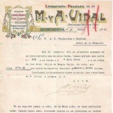 Lettres commerciales: CARTA COMERCIAL. M Y A - VIDAL. LITOGRAFÍA-RELIEVES. BARCELONA 1923. Lote 104782203