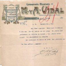Lettres commerciales: CARTA COMERCIAL. M Y A - VIDAL. LITOGRAFÍA-RELIEVES. BARCELONA 1923. Lote 104782343