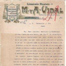 Lettres commerciales: CARTA COMERCIAL. M Y A - VIDAL. LITOGRAFÍA-RELIEVES. BARCELONA 1923. Lote 104782439