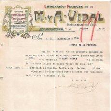Lettres commerciales: CARTA COMERCIAL. M Y A - VIDAL. LITOGRAFÍA-RELIEVES. BARCELONA 1923. Lote 104782547