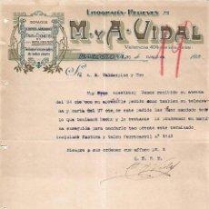 Lettres commerciales: CARTA COMERCIAL. M Y A - VIDAL. LITOGRAFÍA-RELIEVES. BARCELONA 1923. Lote 104782651