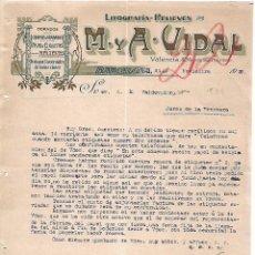 Lettres commerciales: CARTA COMERCIAL. M Y A - VIDAL. LITOGRAFÍA-RELIEVES. BARCELONA 1923. Lote 104782751