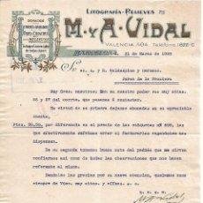 Lettres commerciales: CARTA COMERCIAL. M Y A - VIDAL. LITOGRAFÍA-RELIEVES. BARCELONA 1928. Lote 104784051
