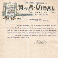 Lettres commerciales: CARTA COMERCIAL. M Y A - VIDAL. LITOGRAFÍA-RELIEVES. BARCELONA 1928. Lote 104784139