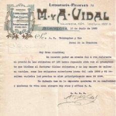 Lettres commerciales: CARTA COMERCIAL. M Y A - VIDAL. LITOGRAFÍA-RELIEVES. BARCELONA 1928. Lote 104784267