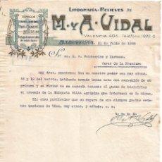 Lettres commerciales: CARTA COMERCIAL. M Y A - VIDAL. LITOGRAFÍA-RELIEVES. BARCELONA 1928. Lote 104784359