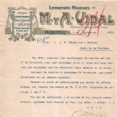 Lettres commerciales: CARTA COMERCIAL. M Y A - VIDAL. LITOGRAFÍA-RELIEVES. BARCELONA 1923. Lote 104787767