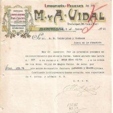 Lettres commerciales: CARTA COMERCIAL. M Y A - VIDAL. LITOGRAFÍA-RELIEVES. BARCELONA 1923. Lote 104787847