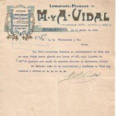 Lettres commerciales: CARTA COMERCIAL. M Y A - VIDAL. LITOGRAFÍA-RELIEVES. BARCELONA 1928. Lote 104795403
