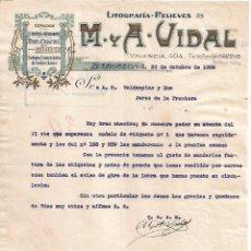 Lettres commerciales: CARTA COMERCIAL. M Y A - VIDAL. LITOGRAFÍA-RELIEVES. BARCELONA 1928. Lote 104795543