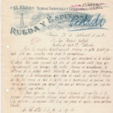 Cartas comerciales: PRECIOSA CARTA COMERCIAL. EL FARO, RUEDA Y ESPINOSA, TEJIDOS NACIONALES Y EXTRANJEROS, JAÉN. 1922.. Lote 105643627
