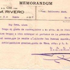 Cartas comerciales: MEMORANDUM. J.M. RIVERO. JEREZ. ESPAÑA 1927. Lote 105726199