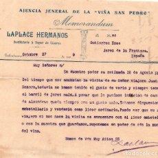 Cartas comerciales: MEMORANDUM. LAPLACE HERMANOS. AGENCIA GENERAL DE LA VIÑA SAN PEDRO. JEREZ 1909. Lote 105736315