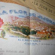Cartas comerciales: TURRON LA FLOR DE JIJONA CARTA Y SOBRE PRECIOS COMERCIAL MEMBRETE DE FLOR DE JIJONA DIFERENTE. Lote 42564075