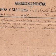 Cartas comerciales: MEMORANDUM. GRANADOS Y MATEOS. JEREZ DE LA FRONTERA. ESPAÑA 1897. Lote 105875891